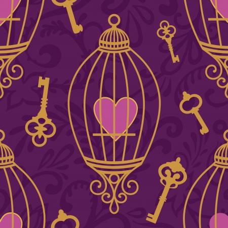 wzór z serca w klatkach oraz klawisze fioletu Ilustracje wektorowe
