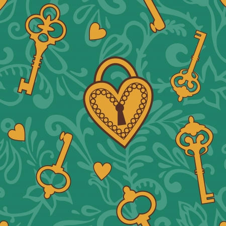 pattern with keys  and  heart lock Vector