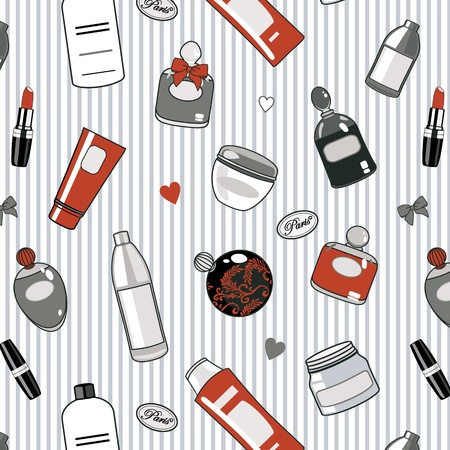 merchandise: pattern with  various cosmetics in red,white and black