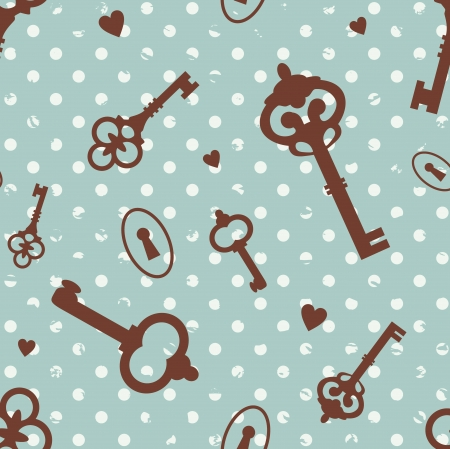 keyholes: pattern with various keys  and  keyhole Illustration