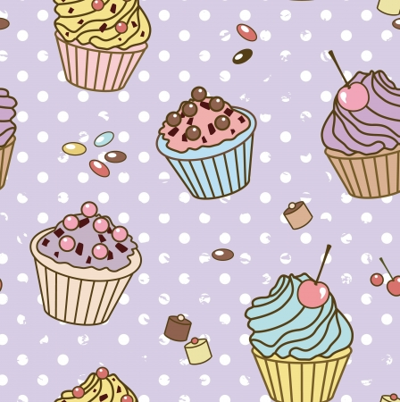 pattern with cakes on vintage dot background