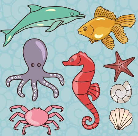 vecror illustration of sea set with sea animals Vector