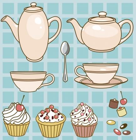 thee set met theepotten, kopjes, gebak en snoep