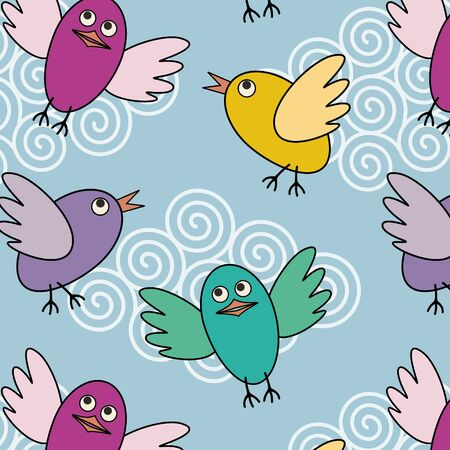 colorful seamless pattern with funny flying birds