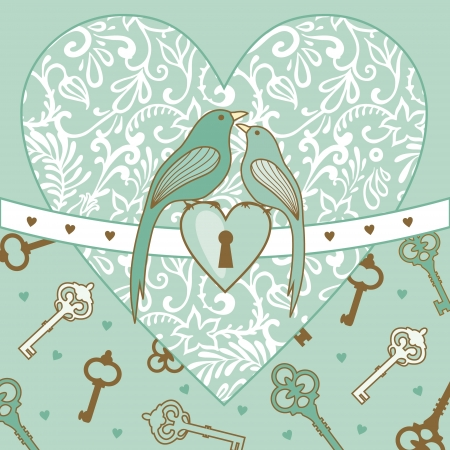 illustration of wedding birds and heart