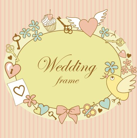 design of cute wedding frame on pink