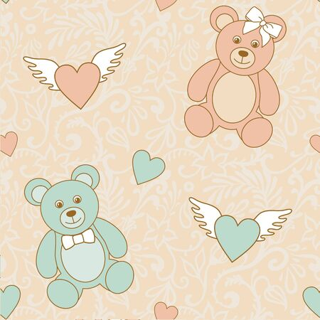 wedding pattern with hearts and teddy bears Vector