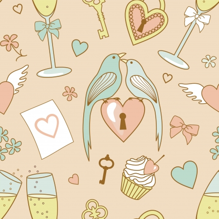 wedding pattern with birds ,hearts and flowers Illustration