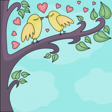 love kiss: vector illustration of birds kissing on a brunch