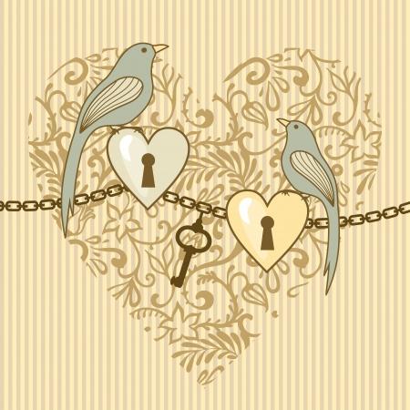 illustrazione vettoriale di uccelli e cuori di nozze Vettoriali
