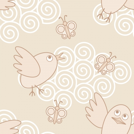seamless vector pattern with funny flying birds and butterflys Illustration
