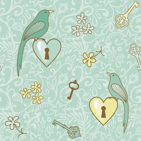 seamless vector pattern with birds, hearts and keys