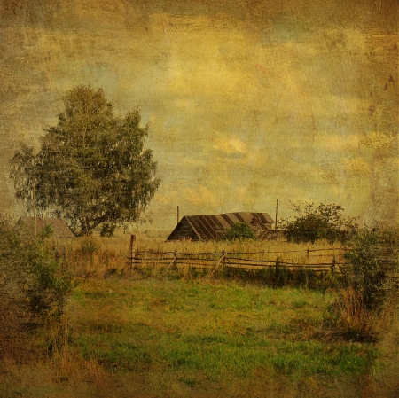 vintage village landscape with shed and tree       photo