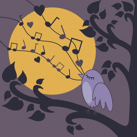 vector illustration of birds singing on a brunch at night Illustration
