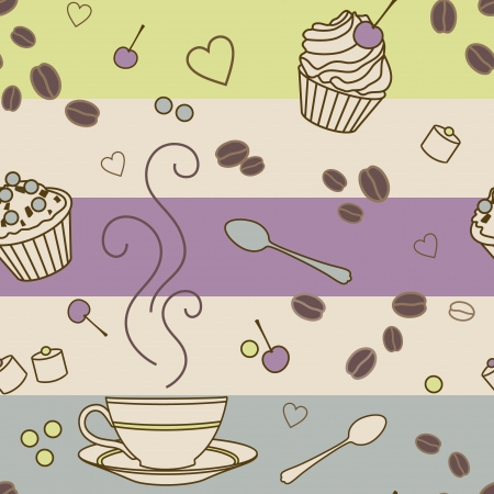 vector seamless pattern with coffee and sweets Vector