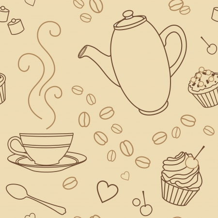 tart: vector seamless pattern with coffee and sweets