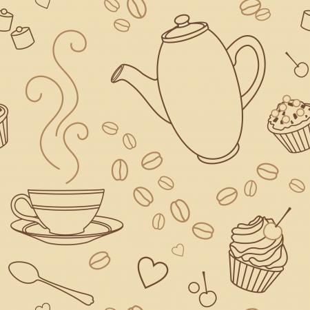 tarta: wektor szwu wzór z kawą i słodyczami