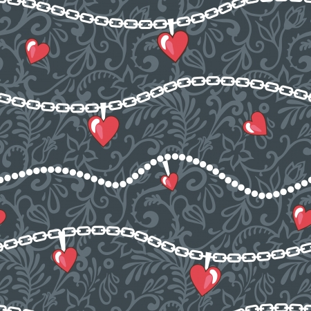 vector seamless pattern with chains and hearts Illustration