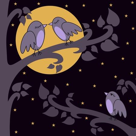 vector illustration of birds kissing on a brunch at night Vector