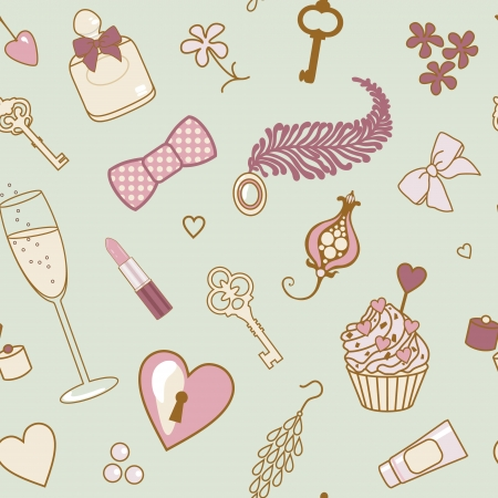 vector seamless pattern with various retro female things Illustration