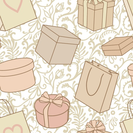 vector seamless presents and purchase pattern in pale colors