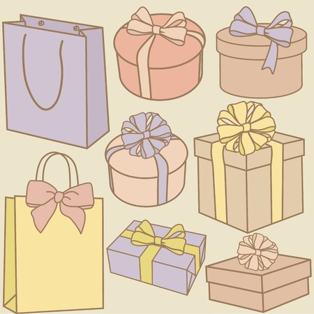 vector purchase bags and present boxes set Vector