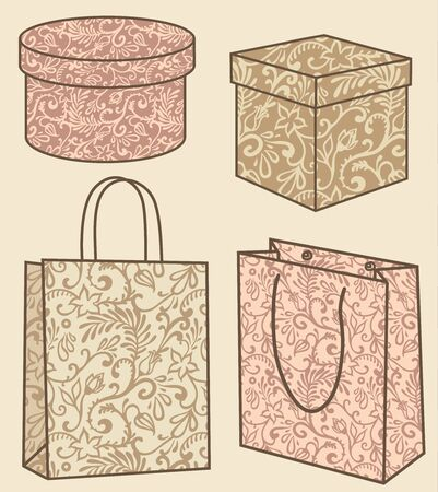 vector purchase bags and boxes set with decor Illustration