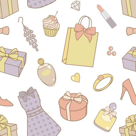bijouterie: women-things-pattern Illustration