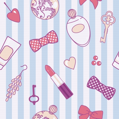 vector seamless pattern with retro female things