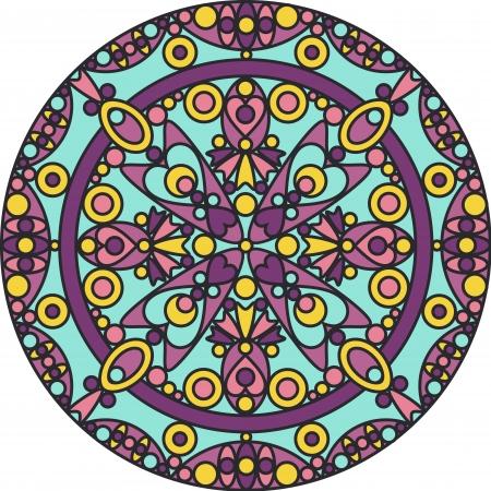 曼陀羅: カラフルな装飾的な幾何学的なマンダラ  イラスト・ベクター素材