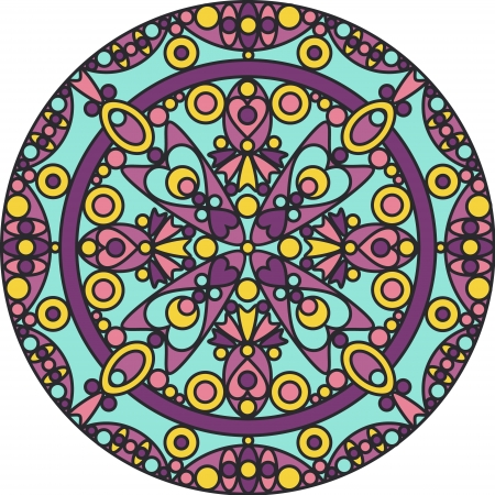 kaleidoscope: colorful ornamental geometric mandala Illustration