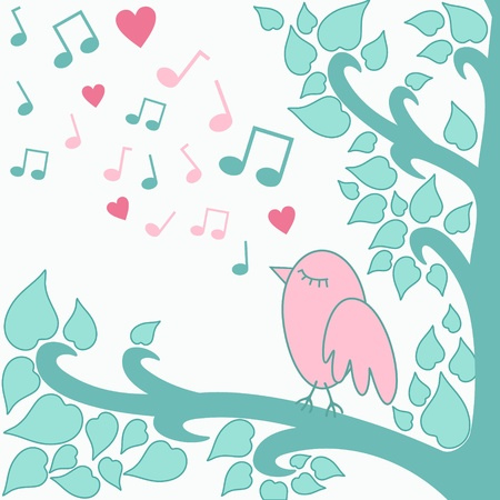 song bird: illustration of bird singing a love song