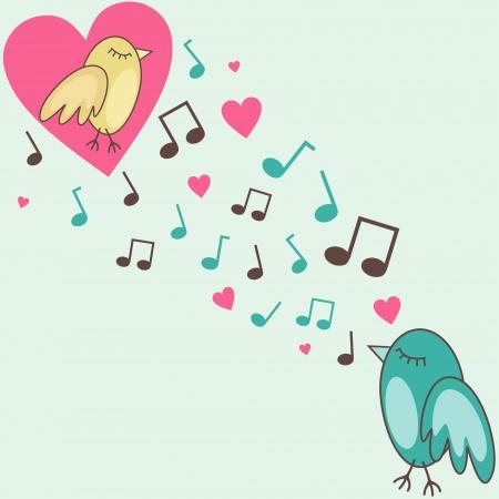 encantador: ilustração de pássaros cantando uma canção de amor