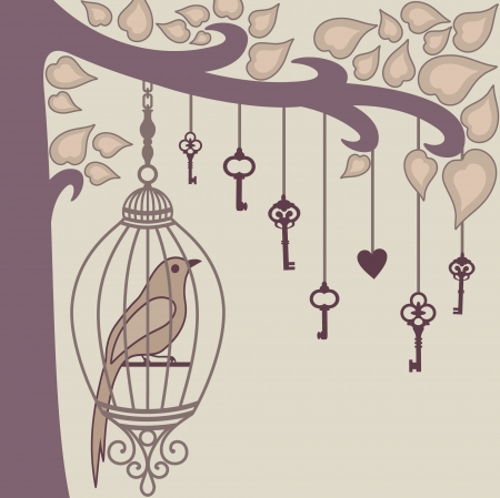 vector illustration of bird sitting in a cage