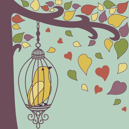 vector illustration of autumn bird sitting in a cage Stock Vector - 15835885