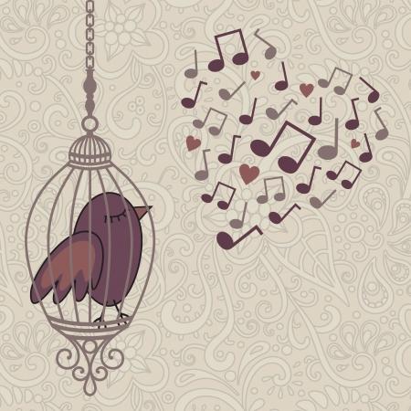 gabbie: illustrazione vettoriale di uccello in gabbia canta una canzone d'amore Vettoriali