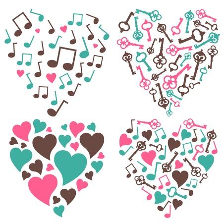 歌: ベクター 4 個をセット様々 な心