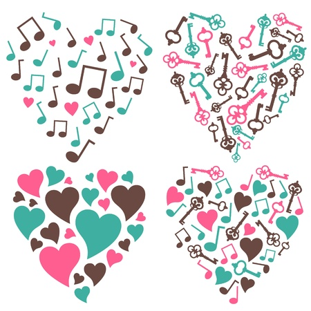 vector set  of 4 various hearts
