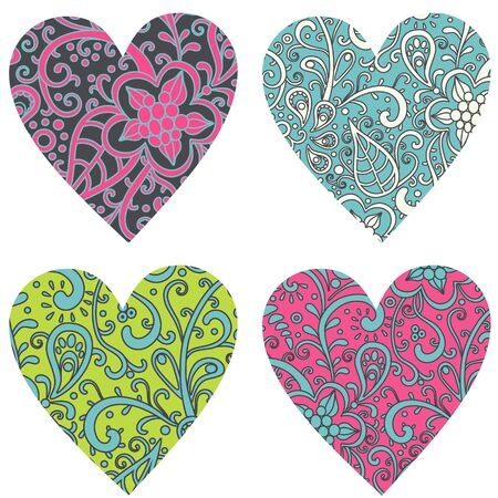vector hearts: vector set  of 4 various hearts