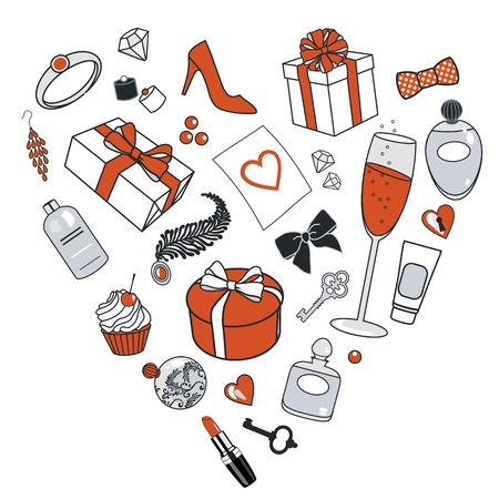 vector illustration of presents for women in heart shape