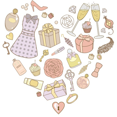 vector illustration of presents for women in heart shape Vector