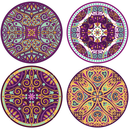 vector set of 4 color mandala  photo