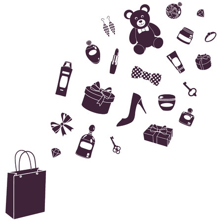perfumery: vector illustration of purchase silhouettes