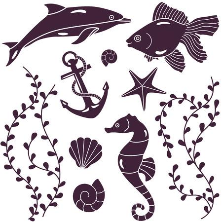 algae cartoon: vector silhouette of sea animals