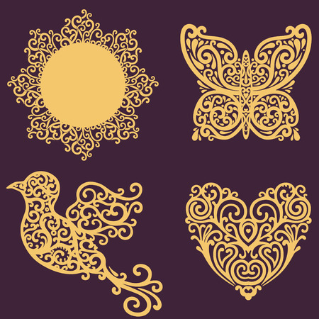 vector set with ornate design elements photo