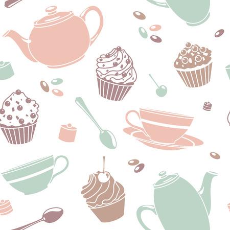 vector seamless tea pattern photo