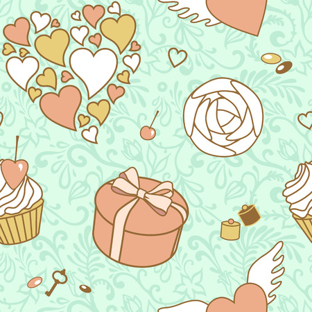vector seamless valentine pattern photo