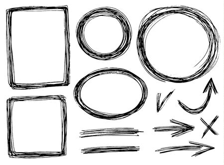 pencil texture: vector hand-draw frames with pencil texture