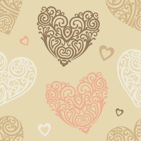 seamless vector wallpaper patern with ornate hearts Vector
