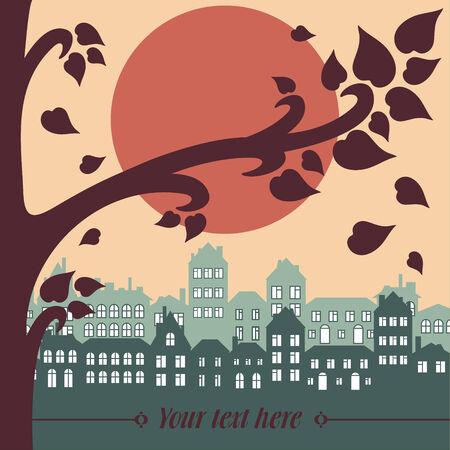vector illustration of evening city illustration